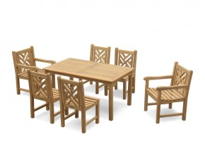 6 Seater Garden Set with Sandringham Rectangular Table 1.5m, Princeton Side Chairs & Armchairs