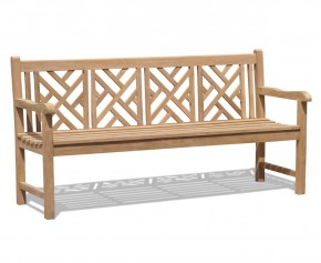 Princeton Teak 6ft Chinoiserie Bench - Large Garden Benches