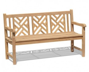 Princeton Teak 5ft Lattice Garden Bench - 1.5m - 3 Seater Garden Benches