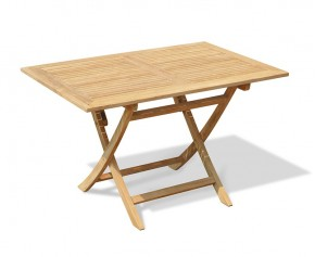 Rimini Teak Rectangular Folding Garden Table 120cm | Oblong Garden Table - Folding Garden Tables