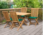Rimini Rectangular Garden Folding Table and Chairs Set - Outdoor Patio Wooden Dining Set