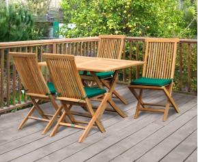 Rimini Rectangular Garden Folding Table and Chairs Set - Outdoor Patio Wooden Dining Set - Rectangular Table