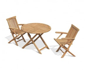 Chester Folding Teak Round Table 1m and 2 Low Back Armchairs