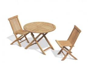 Chester Folding Teak Round Table 1m and 2 Low Back Dining Chairs