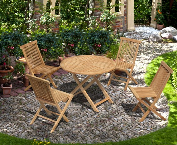 Suffolk Round Teak Table 1m and 4 Chester Folding Chairs Set