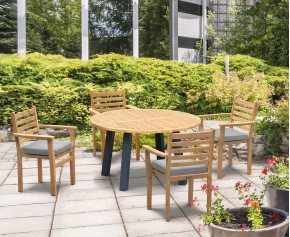 Disk 4 Seater Teak and Metal Dining Set and Yale Stacking Chairs