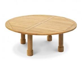 Titan Teak Circular Garden Table, Round Legs - 2m
