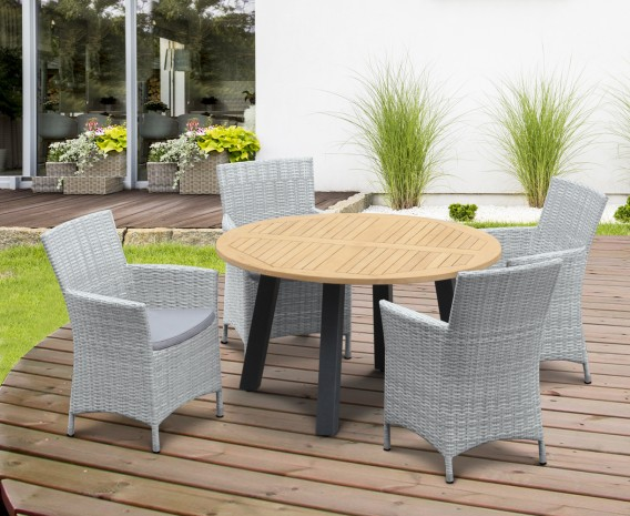 Disk 4 Seater Teak and Metal Dining Set and Riviera Armchairs