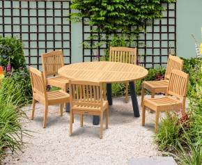 Disk 6 Seater Teak and Metal Dining Set and Hilgrove Stacking Chairs
