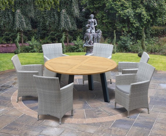 Disk 6 Seater Teak and Metal Dining Set and Riviera Armchairs