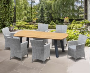 Disk 6 Seater Oval Teak and Metal Dining Set and Riviera Armchairs