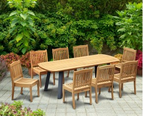 Disk 8 Seater Oval Teak and Metal Dining Set and Hilgrove Armchairs