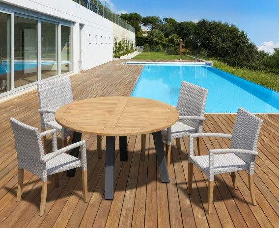 Disk 4 Seater Teak and Metal Dining Set and St. Tropez Stacking Chairs