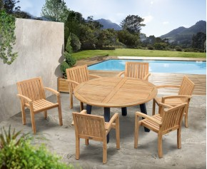 Disk 6 Seater Teak and Metal Dining Set and Monaco Stacking Chairs