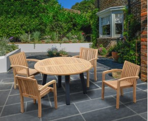 Disk 4 Seater Teak and Metal Dining Set and Monaco Stacking Chairs