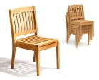 Disk 4 Seater Teak and Metal Dining Set and Hilgrove Stacking Chairs