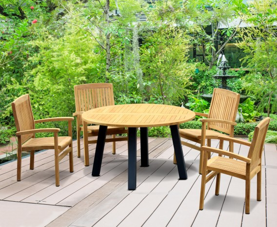 Disk 4 Seater Teak and Metal Dining Set and Bali Stacking Chairs