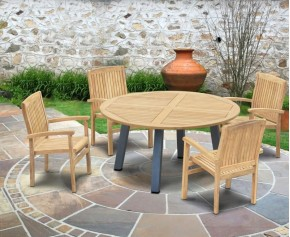 Disk 4 Seater Teak and Metal Dining Set with Bali Stacking Chairs