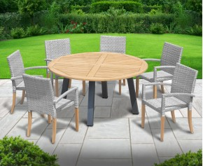 Disk 6 Seater Teak and Metal Dining Set with St. Tropez Stacking Chairs