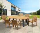 Disk 6 Seater Oval Teak and Metal Dining Set & Monaco Stacking Chairs