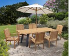 Disk 6 Seater Oval Teak and Metal Dining Set and Bali Stacking Chairs