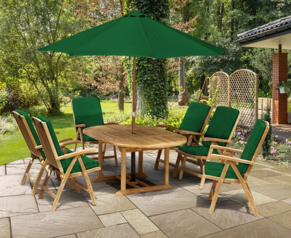 Cheltenham Oval Extending Table and 6 Reclining Chairs Set