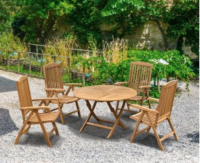Suffolk 4 Seater Teak Round Garden Table and Chairs Set - Round Table