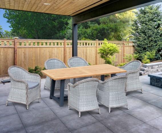 Teak Rectangular Trestle Table 2m and 6 Eaton Rattan Armchairs