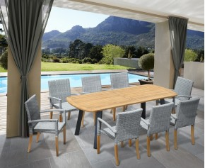 Disk 8 Seater Oval Teak and Metal Dining Set and St. Tropez Armchairs