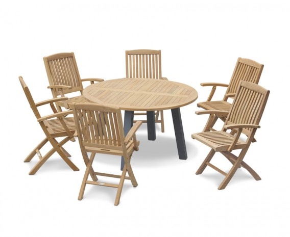 Disk 6 Seater Teak and Metal Dining Set and Bali Folding Armchairs