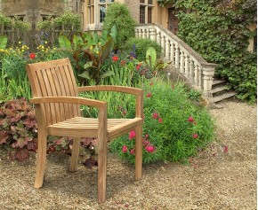 Monaco Teak Outdoor Stacking Chair - Stacking Chairs