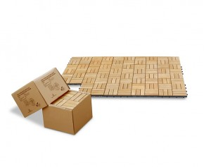10 x Teak Interlocking Deck Tiles, Mosaic Square Basket Pattern