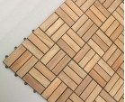 Teak Interlocking Deck Tiles, Mosaic Square Basket Pattern