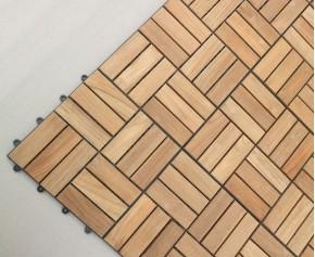 Teak Interlocking Deck Tiles, Mosaic Square Basket Pattern