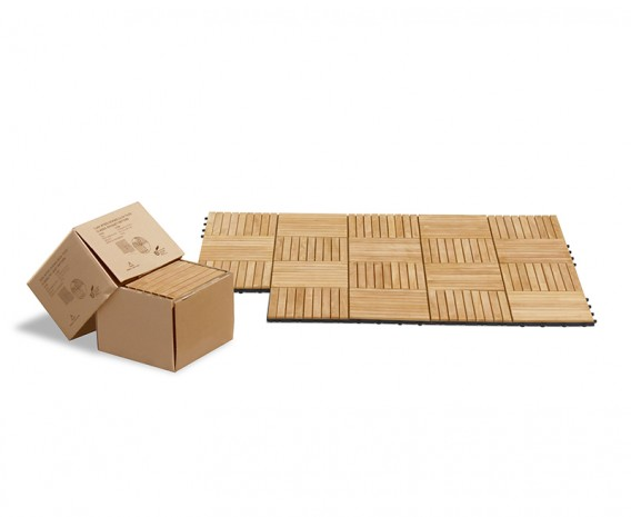 Teak Interlocking Deck Tiles, Classic Parquet Pattern