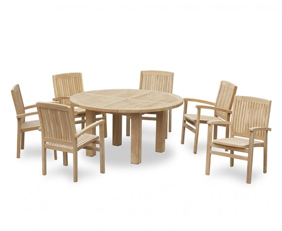 Titan Round 1.5m Table with Bali Stacking Armchairs