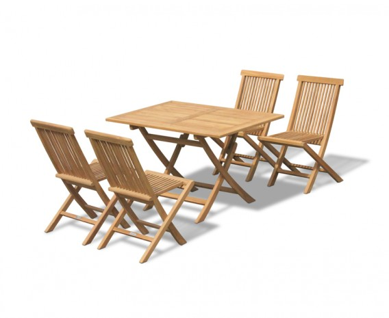 Chester Teak 1.2m Folding Garden Set with 4 Low Back Dining Chairs