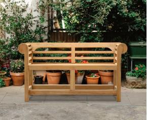 Low Back Teak Lutyens-Style Bench - 1.35m