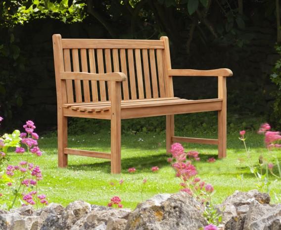 York Teak Garden Bench, Flat Pack - 1.2m