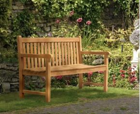 York Teak Garden Bench, Flat Pack - 1.5m
