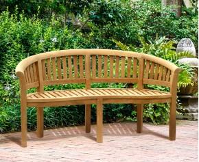 Wimbledon Teak Banana Bench - Medium Garden Benches