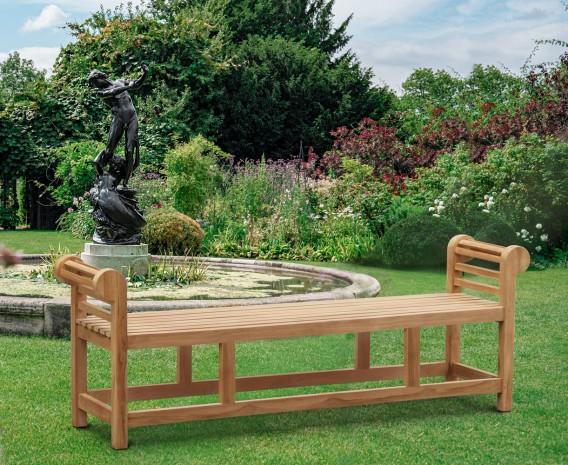 Lutyens-Style Teak Backless Garden Bench - 1.95m