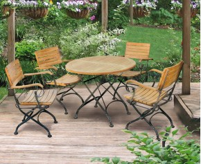 Garden Round Bistro Table and 4 Arm Chairs - Patio Outdoor Bistro Dining Set - Folding Table