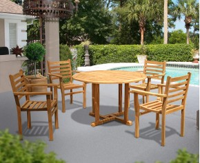 Canfield Round Teak Garden Table and 4 Stacking Chairs Set - Round Table