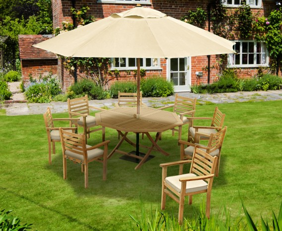 Suffolk Teak 8 Seat Octagonal Folding Table and Stackable Chairs Set