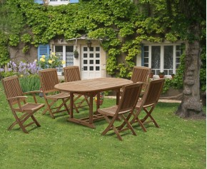 Rimini Outdoor Extending Garden Table and Folding Chairs - Teak Patio Extendable Dining Set - Brompton Dining Set