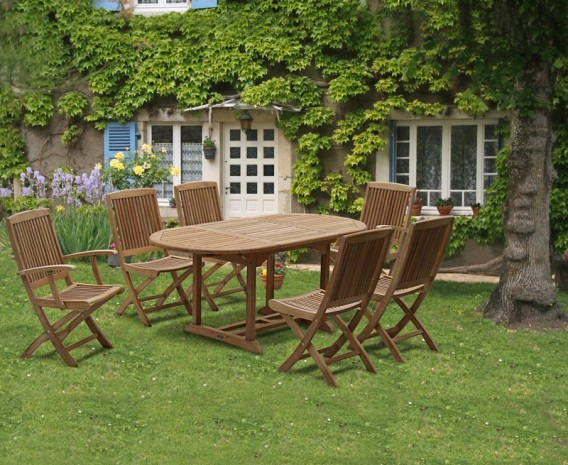 Rimini Outdoor Extending Garden Table and Folding Chairs - Teak Patio Extendable Dining Set