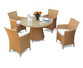 Eclipse Glass Top Rattan Table and 4 Chairs Set - Indoor Dining Sets