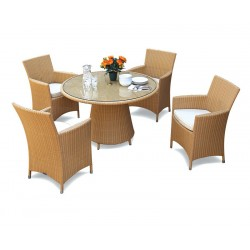 Eclipse Glass Top Rattan Table and 4 Chairs Set