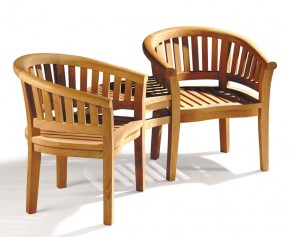 Garden Teak Companion Seat - Jack and Jill Bench - Teak Banana Benches